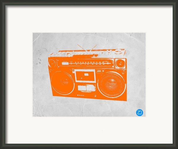 Orange Boombox Framed Print By Naxart Studio
