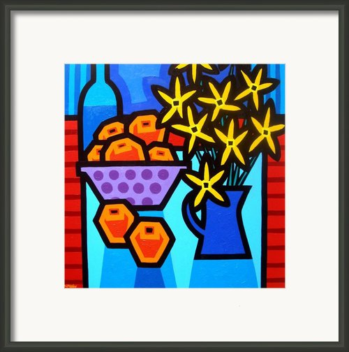Oranges Flowers And Bottle Framed Print By John  Nolan