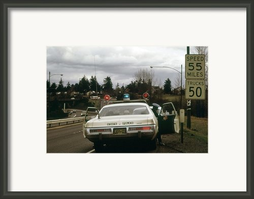 Oregon State Police Stops A Driver Who Framed Print By Everett