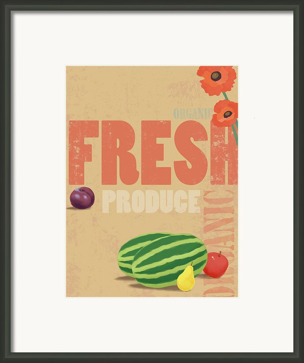 Organic Fresh Produce Poster Illustration Framed Print By Don Bishop