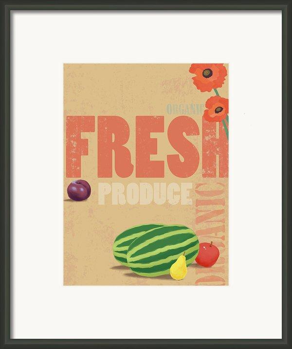 Organic Fresh Produce Poster Illustration Framed Print By Don Bishop