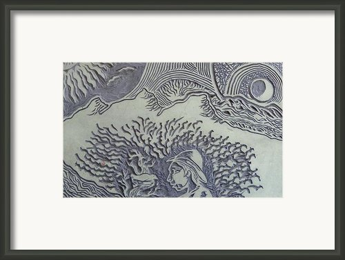 Original Linoleum Block Print Framed Print By Thor Senior