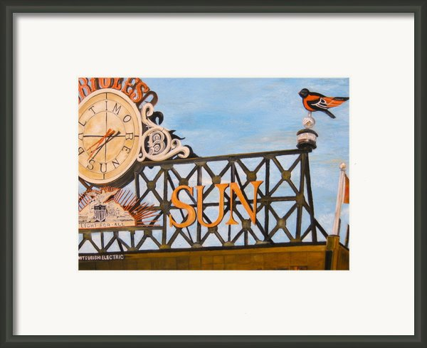 Orioles Scoreboard At Sunset Framed Print By John Schuller