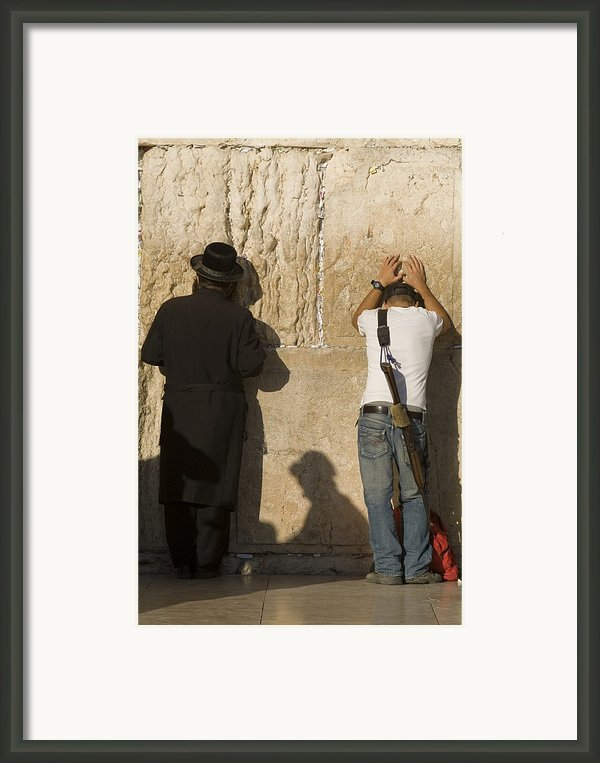 Orthodox Jew And Soldier Pray, Western Framed Print By Richard Nowitz