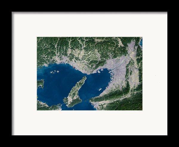 Osaka, Satellite Image Framed Print By Planetobserver