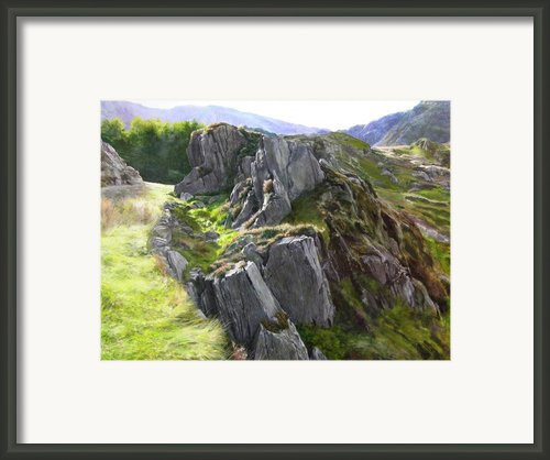 Outcrop In Snowdonia Framed Print By Harry Robertson