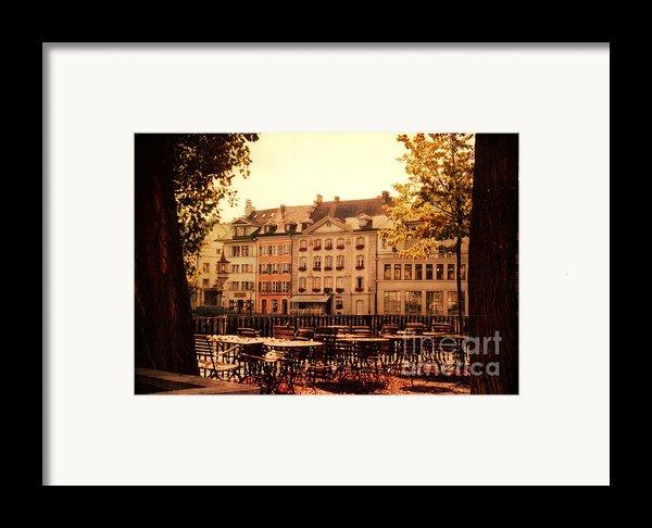 Outdoor Cafe In Lucerne Switzerland  Framed Print By Susanne Van Hulst