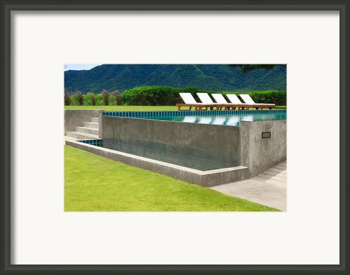 Outdoor Swimming Pool Framed Print By Atiketta Sangasaeng