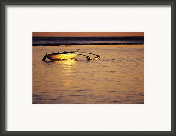 Outrigger And Sunset Framed Print By Joss - Printscapes