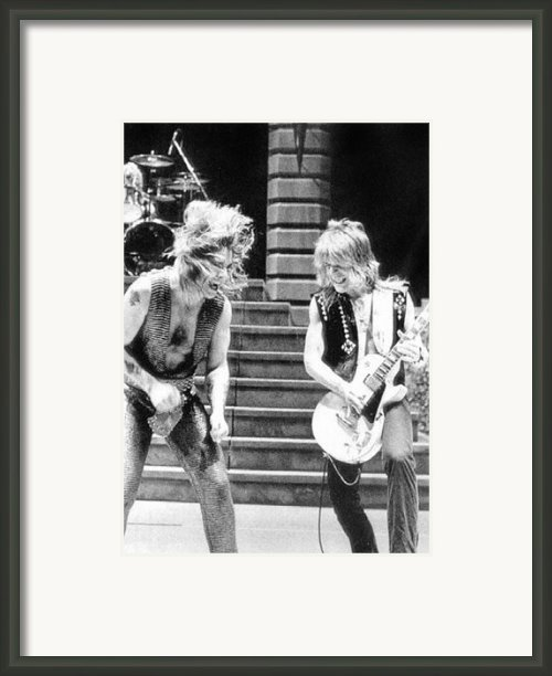 Ozzy Osbourne And Randy Rhoads, C. 1981 Framed Print By Everett