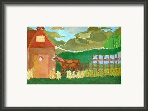 Paint Pony At Red Schoolhouse Framed Print By Shannon Smithcumiford