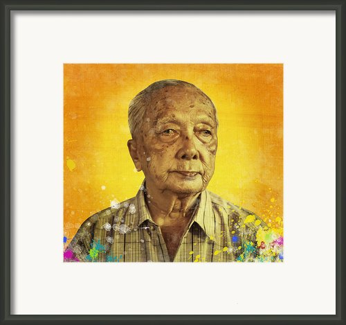 Painting Of Old Man Framed Print By Setsiri Silapasuwanchai