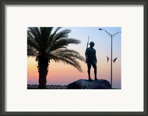 Palatka Memorial Bridge Doughboy At Sunset Framed Print By Angie Bechanan