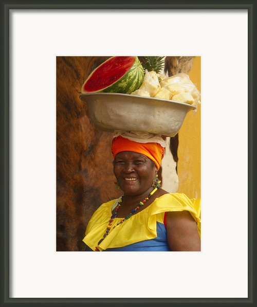 Palenquera In Cartagena Colombia Framed Print By Anna Smith
