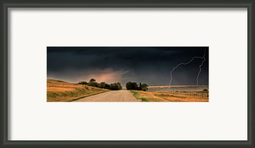 Panoramic Lightning Storm In The Prairie Framed Print By Mark Duffy