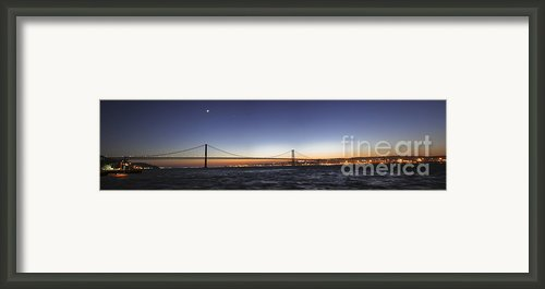 Panoramic Scene Of Lisbon, Portugal Framed Print By Miguel Claro