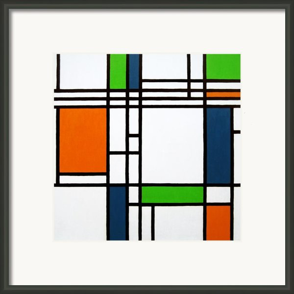 Parallel Lines Composition With Blue Green And Orange In Opposition Framed Print By Oliver Johnston
