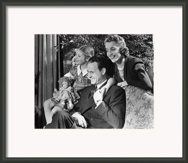 Parents With Daughter (6-7) In Living Room, (b&w) Framed Print By George Marks