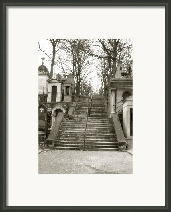 Paris Cemetery - Pere La Chaise - Mausoleum Stairs  Framed Print By Kathy Fornal