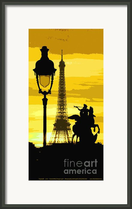 Paris Tour Eiffel Yellow Framed Print By Yuriy  Shevchuk
