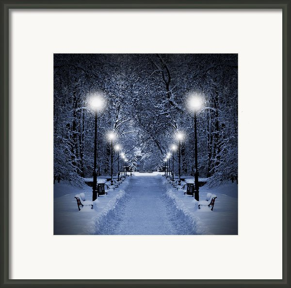 Park At Christmas Framed Print By Jaroslaw Grudzinski