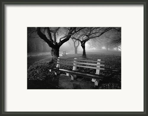 Park Benches Framed Print By Gary Heller