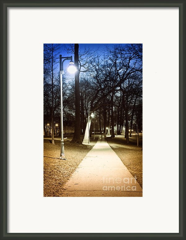 Park Path At Night Framed Print By Elena Elisseeva
