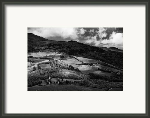 Patches Of Light Over Hills In Chianti, Tuscany Framed Print By Philipp Klinger