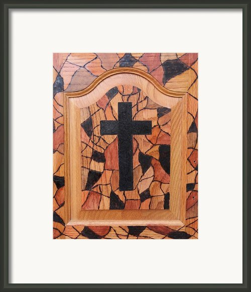 Patchwork And Cross Framed Print By Lisa Brandel