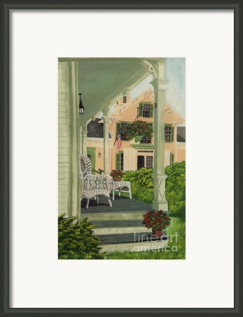 Patriotic Country Porch Framed Print By Charlotte Blanchard