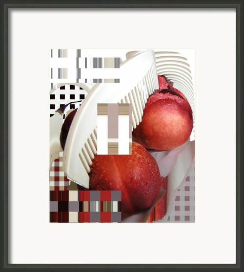 Peach And Haircomb Framed Print By Evguenia Men