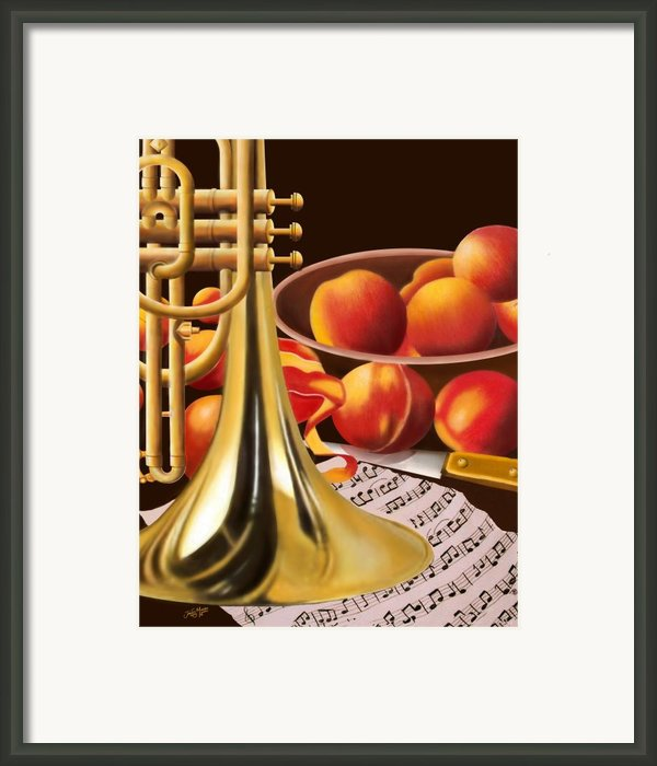 Peaches And Horn Framed Print By James  Mingo