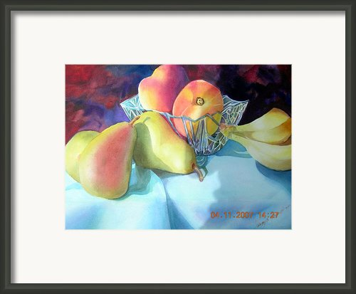 Peaches And Pears Framed Print By Dorothy Koliba