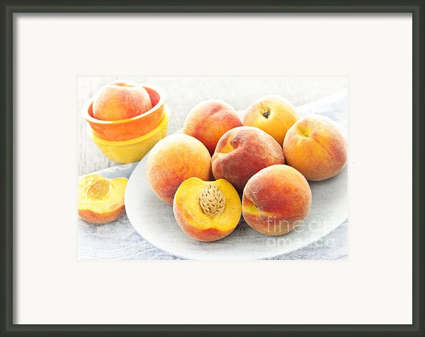 Peaches On Plate Framed Print By Elena Elisseeva