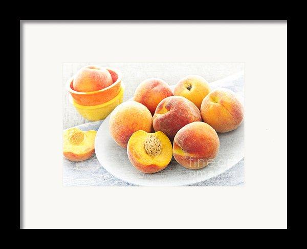 Peaches On Plate Framed Print By Elena Elisseeva