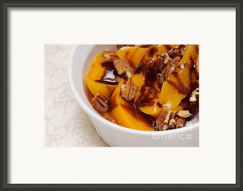 Peaches With Chocolate Drizzle And Pecans Framed Print By Andee Photography
