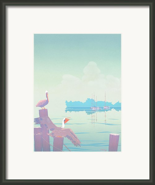 Pelicans Tropical Florida Seascape Sailboats Large Pop Art Nouveau 80s 1980s Stylized Painting Framed Print By Walt Curlee