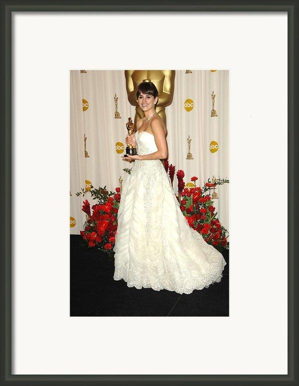 Penelope Cruz Wearing A Vintage Pierre Framed Print By Everett