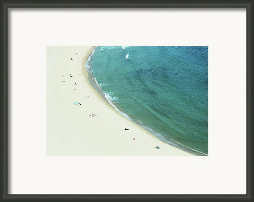 People Relaxing On Beach Framed Print By G Fletcher