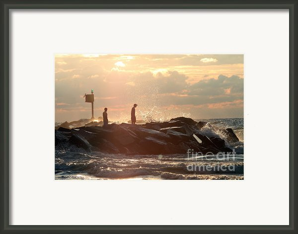People Walking On New Buffalo Michigan Breakwater Framed Print By Purcell Pictures