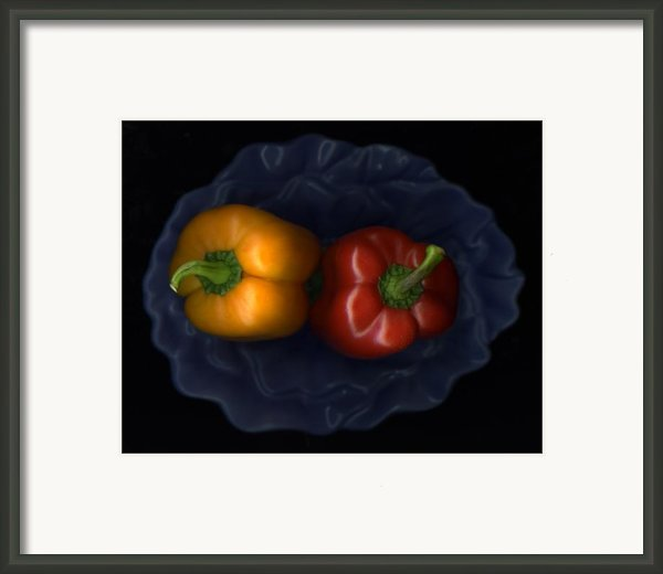 Peppers And Blue Bowl Framed Print By Christian Slanec