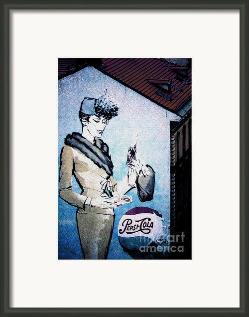 Pepsi Is Here - Pepsi Cola Ad In Prague Cz Framed Print By Christine Till