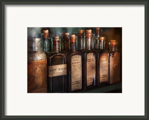 Pharmacy - Syrup Selection  Framed Print By Mike Savad