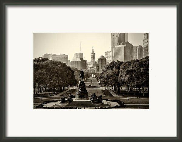 Philadelphia Benjamin Franklin Parkway In Sepia Framed Print By Bill Cannon