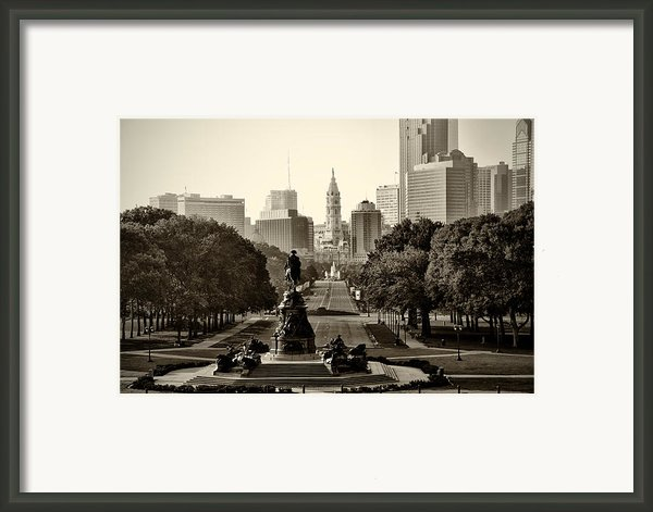 Philadelphia Benjamin Franklin Parkway In Sepia Framed Print By Bill Cannon