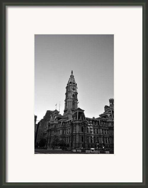 Philadelphias City Hall In Black And White Framed Print By Bill Cannon