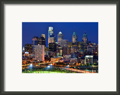 Philadelpia Skyline At Night Framed Print By Jon Holiday
