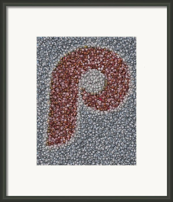 Philidelphia Phillies Baseballs Mosaic Framed Print By Paul Van Scott