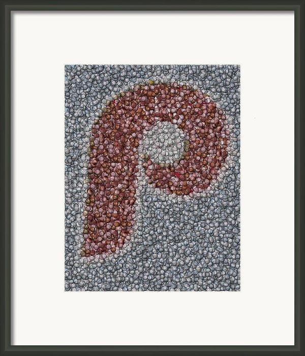 Philidelphia Phillies Baseballs Mosaic Framed Print By Paul Van Scott