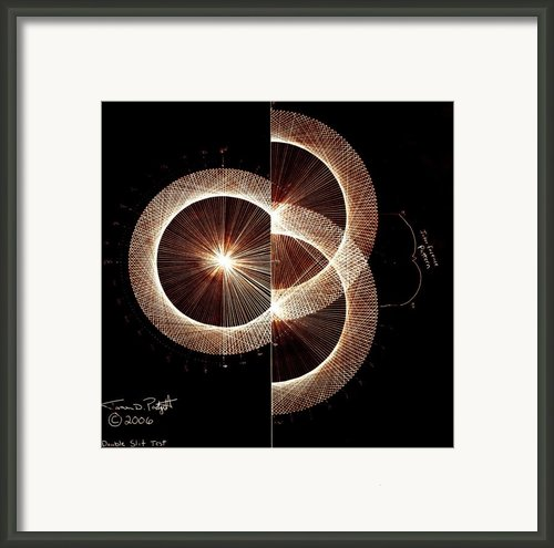 Photon Double Slit Test Hand Drawn Framed Print By Jason Padgett